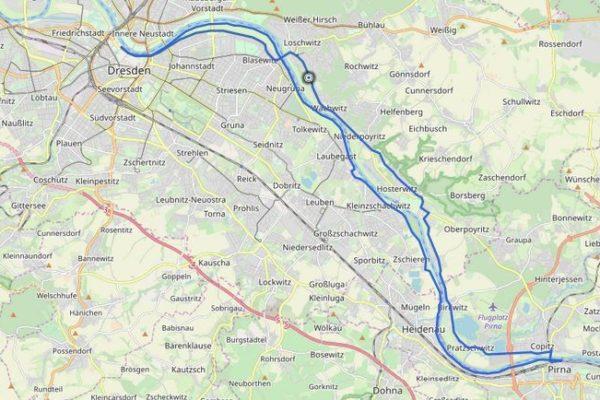 GPX Track von Dresden nach Pirna auf einer Karte