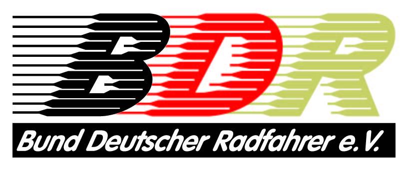 BDR Logo; Schriftzug BDR in Deutschlandfarben. Darunter Schriftzug Bund Deutscher Radfahrer e.V.