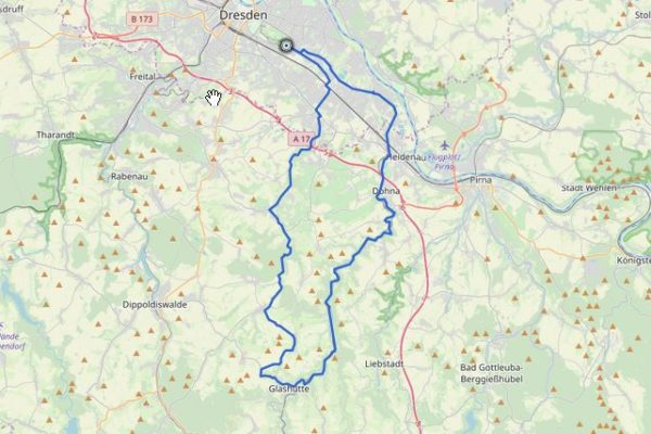 GPX Track auf Karte mit Lockwitztal und Müglitztal
