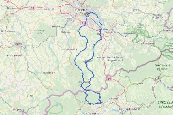 Dresden Krupka GPX Track auf Karte