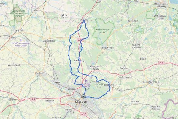 GPX Track auf Map von Dresden nach Ortrand und zürck