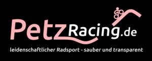 Logo PetzRacing Schriftzug mit Linie als Berg und Radfahrer darauf