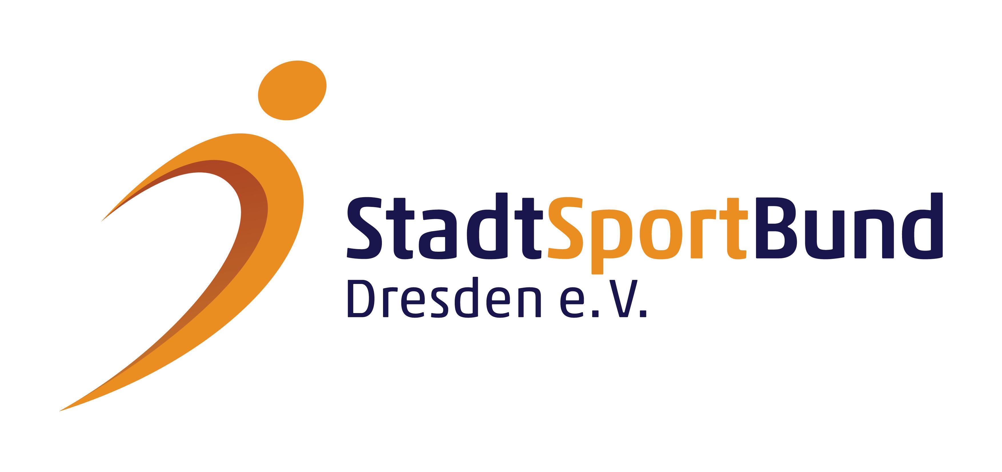 Schriftzug Stadtsportbund Dresden e.V. mit stilisiertem Sportler als Grafik
